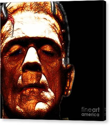 Horror Movies Canvas Print - Frankenstein Black Square by Wingsdomain Art and Photography