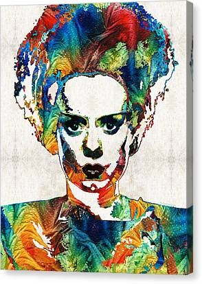 Fun Canvas Print - Frankenstein Bride Art - Colorful Monster Bride - By Sharon Cummings by Sharon Cummings