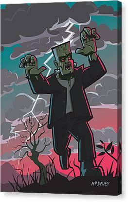 Frankenstein Creature In Storm  Canvas Print by Martin Davey