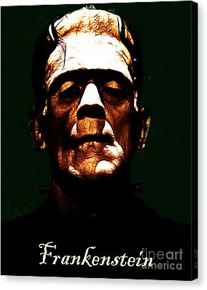 Frankenstein - Dark - With Text Canvas Print by Wingsdomain Art and Photography