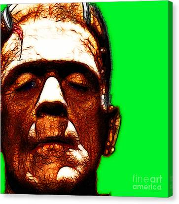 Horror Movies Canvas Print - Frankenstein Green Square by Wingsdomain Art and Photography