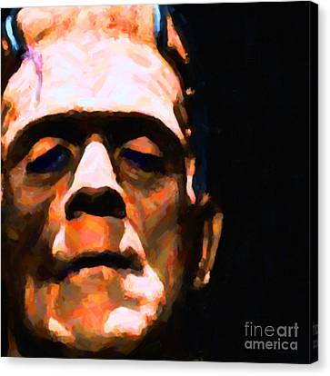 Horror Movies Canvas Print - Frankenstein Painterly Black Square by Wingsdomain Art and Photography