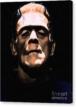 Frankenstein - Painterly - Black Canvas Print