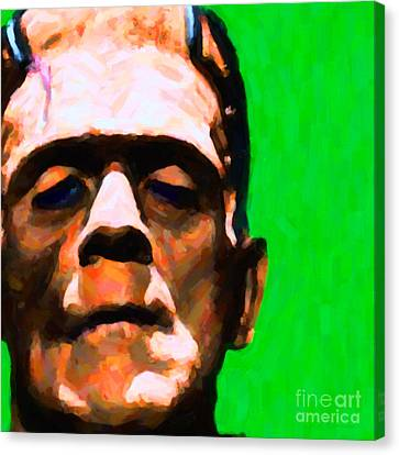 Horror Movies Canvas Print - Frankenstein Painterly Green Square by Wingsdomain Art and Photography