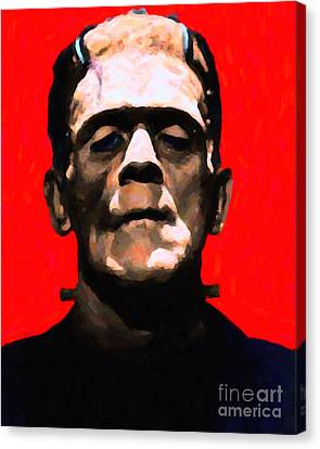 Frankenstein - Painterly - Red Canvas Print by Wingsdomain Art and Photography