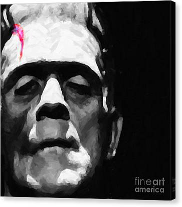 Frankenstein Painterly Square Black And White Canvas Print