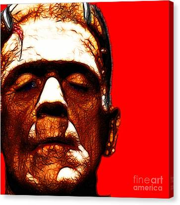 Frankenstein Red Square Canvas Print