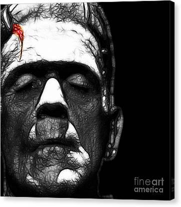 Frankenstein Square Black And White Canvas Print