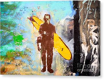 Frankenstein Surf Graffiti Canvas Print by Amy Fearn
