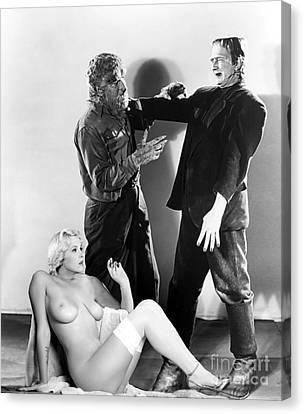Frankenstein Werewolf Fantasy Nude Canvas Print by Jorge Fernandez