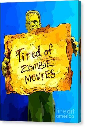 Frankenstein's Monster Turns Activist Canvas Print by John Malone
