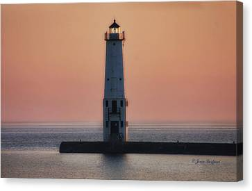 Canvas Print featuring the photograph Frankfort Lighthouse II by Joan Bertucci