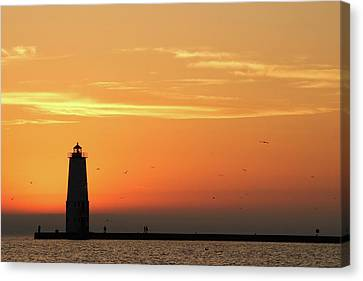 Frankfort North Breakwater Lighthouse Canvas Print by Adam Romanowicz