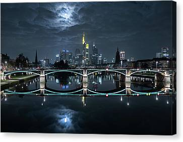 Frankfurt At Full Moon Canvas Print