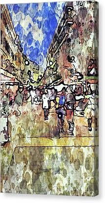 Frankfurt Germany Central Market Street Canvas Print by Yury Malkov