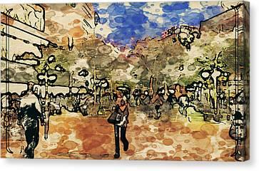 Frankfurt Germany Shopping Street 3 Canvas Print by Yury Malkov