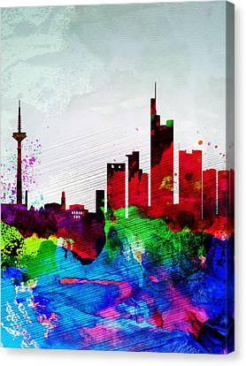 Downtown Canvas Print - Frankfurt Watercolor Skyline by Naxart Studio
