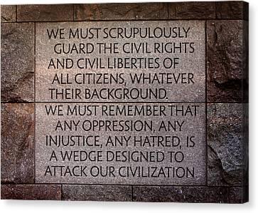Franklin Delano Roosevelt Memorial Civil Rights Quote Canvas Print by John Cardamone