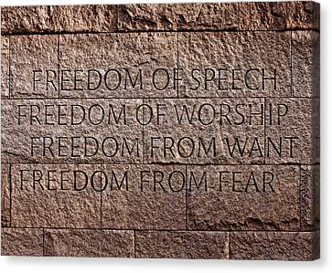 Franklin Delano Roosevelt Memorial Freedom Quote Canvas Print by John Cardamone