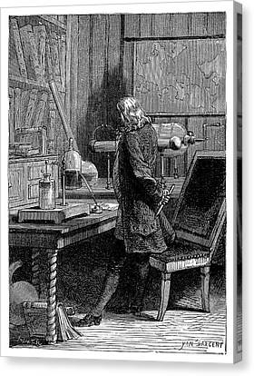 Franklin In His Laboratory Canvas Print by Science Photo Library