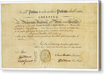 Franklin Membership Certificate Canvas Print by American Philosophical Society
