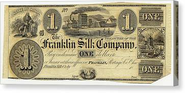 Franklin Silk Company Bank Note Canvas Print by American Philosophical Society