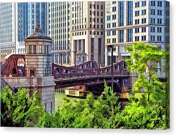 Chicago River Canvas Print - Franklin Street Bridge by Christopher Arndt