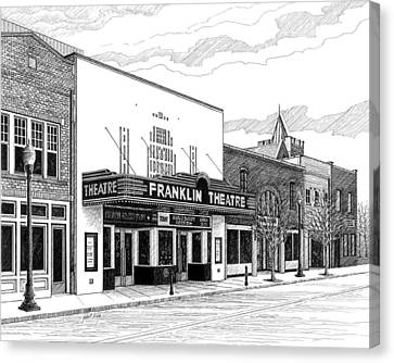 Franklin Theatre In Franklin Tn Canvas Print by Janet King