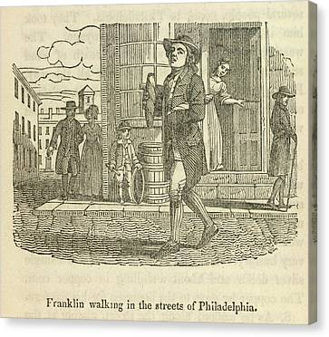 Franklin Walking In Philadelphia Canvas Print by British Library