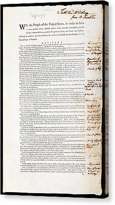 Franklin's Copy Of The Us Constitution Canvas Print by American Philosophical Society