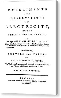 Franklins Experiments With Electricity Canvas Print by Science Source