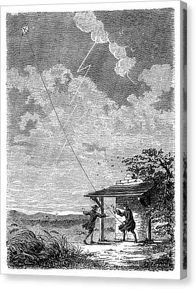Franklin's Lightning Experiment Canvas Print by Science Photo Library