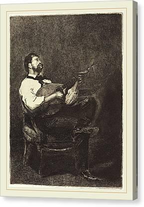 François Bonvin French, 1817-1887, Guitar Player Joueur De Canvas Print by Litz Collection