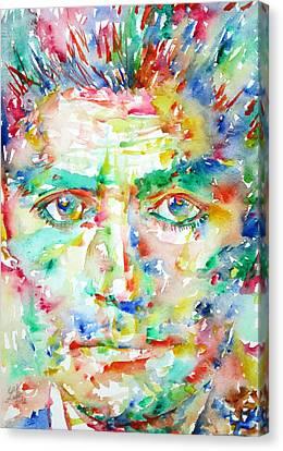 Franz Kafka Watercolor Portrait Canvas Print by Fabrizio Cassetta