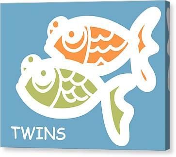 Fraternal Twins - Baby Room Art Canvas Print by Nursery Art