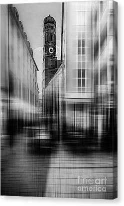 Frauenkirche - Muenchen V - Bw Canvas Print by Hannes Cmarits