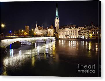 Fraumunster Abbey Night Scenic Canvas Print by George Oze