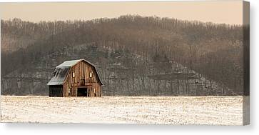 Frechman Barn - Winter Canvas Print by Wayne Meyer