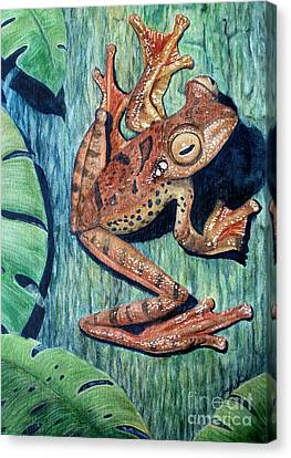 Philodendron Canvas Print - Freckles Tree Frog by Joey Nash