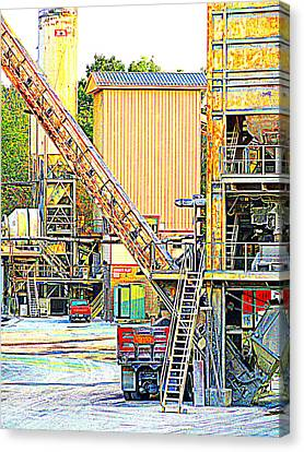 Fred And Barney At Work The Quarry At Ashcom Pa Canvas Print by Mary Beth Landis