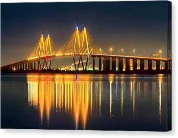 Fred Hartman Bridge At Night Canvas Print by Tim Stanley