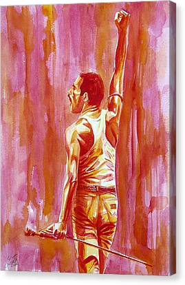 Concert Images Canvas Print - Freddie Mercury Singing Portrait.3 by Fabrizio Cassetta