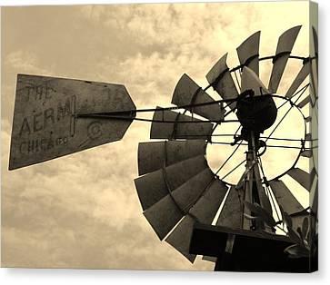 Fredericksburg Herb Farm Aermotor Windmill Sepia Canvas Print