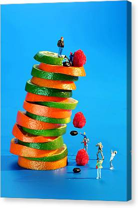 Free Falling Bodies Experiment On Fruit Tower Canvas Print by Paul Ge