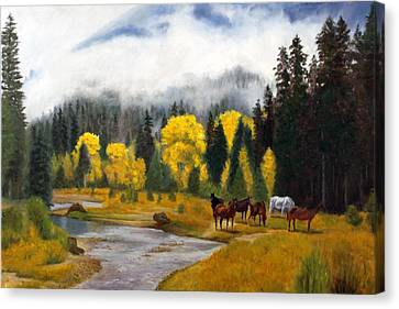 Free Grazers Canvas Print by Rick Fitzsimons
