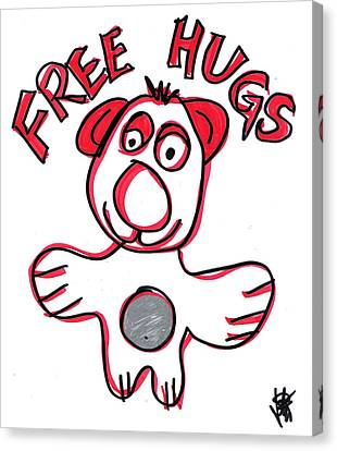 Toon Canvas Print - Free Hugs Bear by Jera Sky