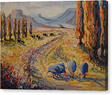 Free State Landscape With Guinea Fowl Canvas Print