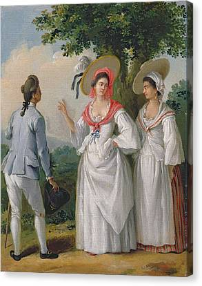 Free West Indian Creoles In Elegant Dress, C.1780 Oil On Canvas Canvas Print by Agostino Brunias