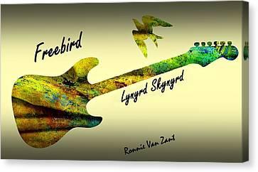 Canvas Print featuring the painting Freebird Lynyrd Skynyrd Ronnie Van Zant by David Dehner