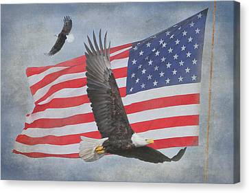 Eagle And Flag Canvas Print - Freedom Flight by Angie Vogel